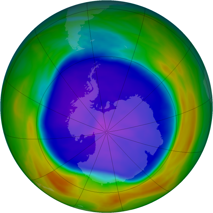 Antarctic ozone map for 18 September 2005